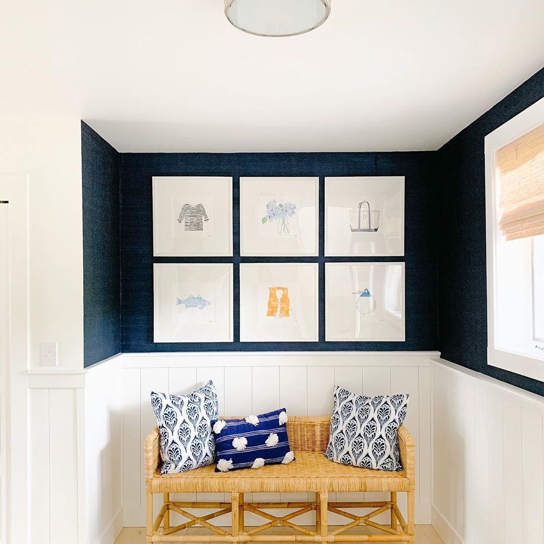 Entryway with navy blue walls