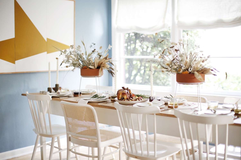 Organic modern farmhouse Thanksgiving table.