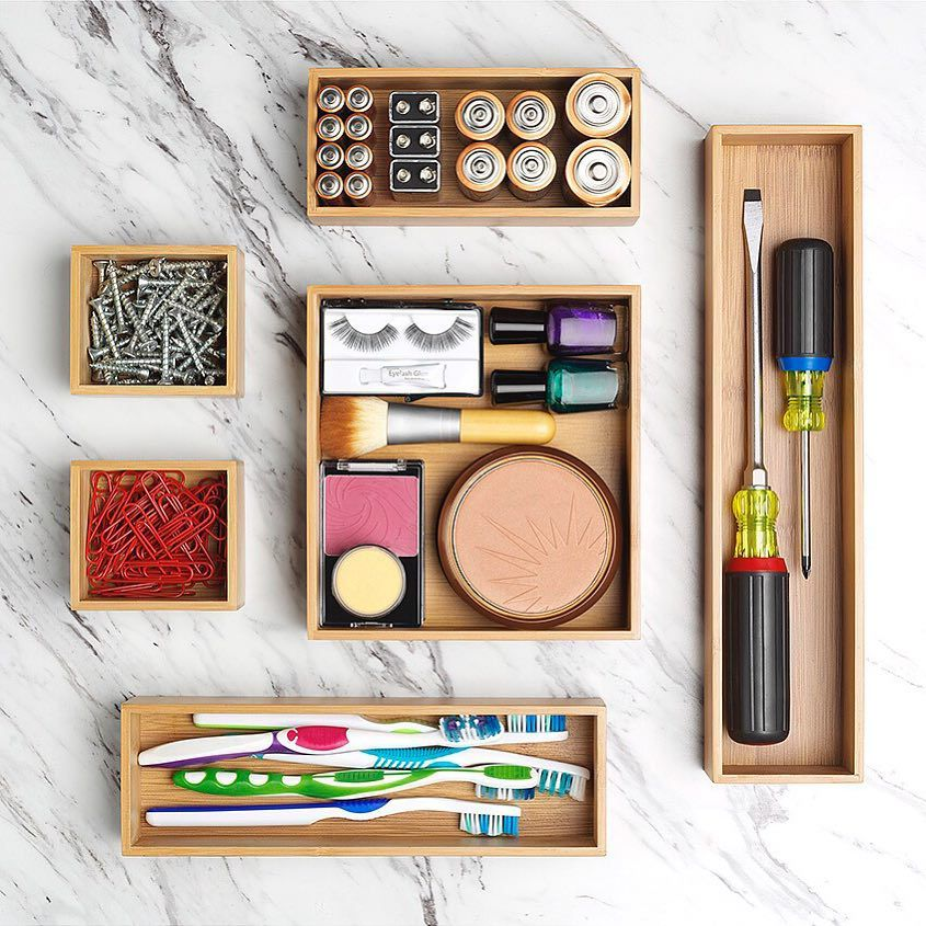 Organizational boxes for batteries, screws, toothbrushes, makeup, and screwdrivers