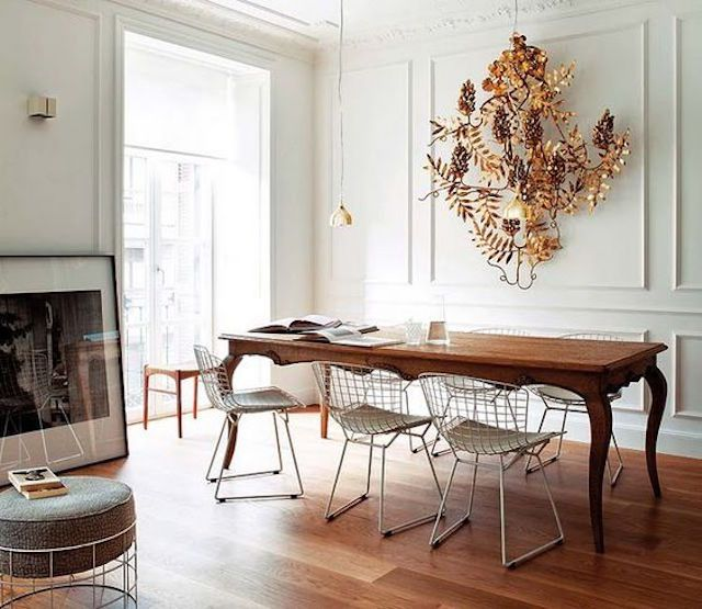 Traditional Dining room with modern accents