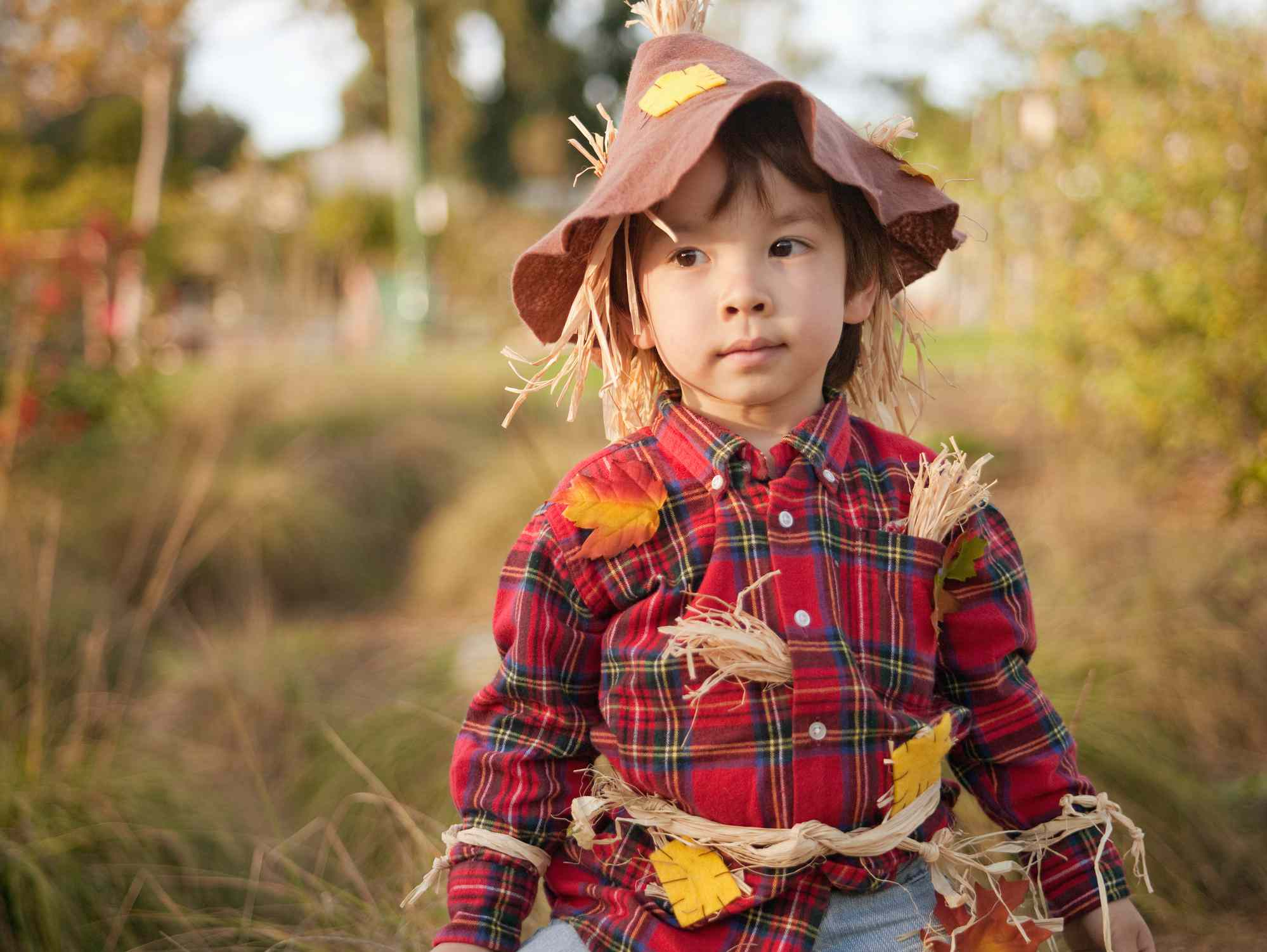 Child in a scarecrow costume
