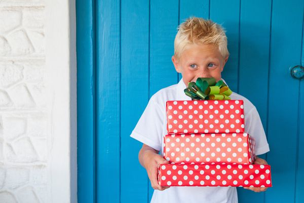 Boy excited at gifts