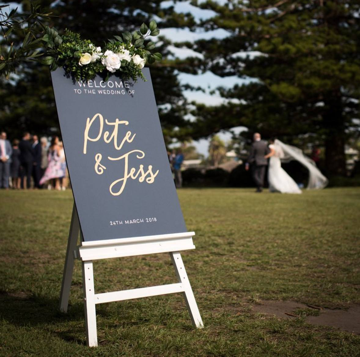 black and cold wedding sign