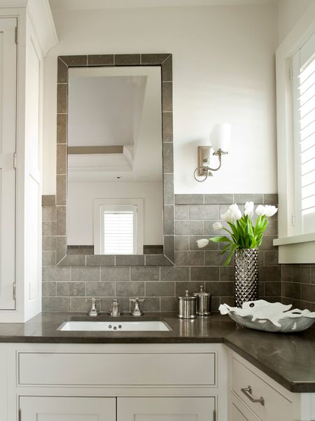 beautiful gray bathroom - Gray Tile Bathroom