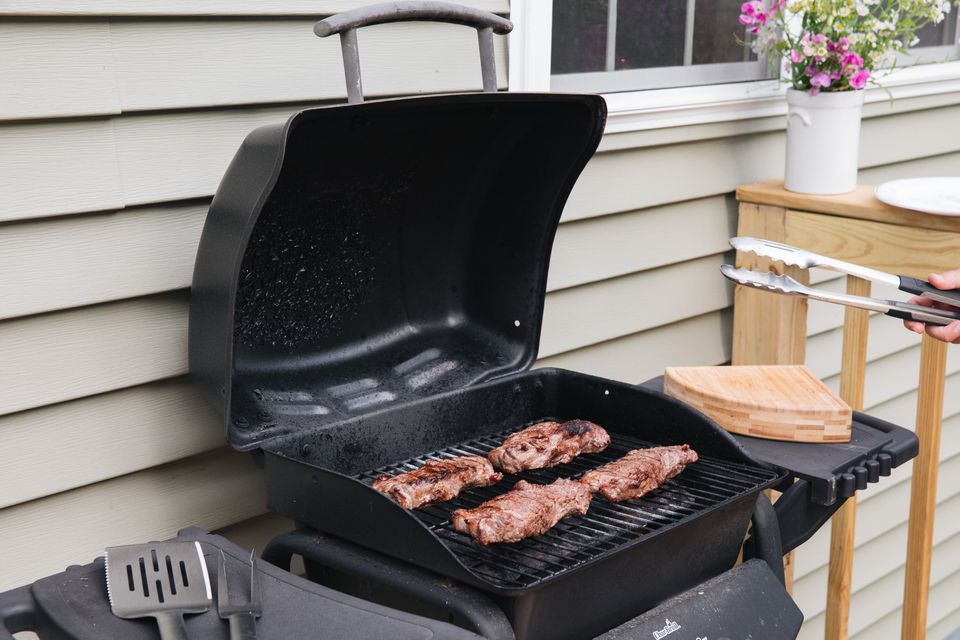 barbecue grill in use