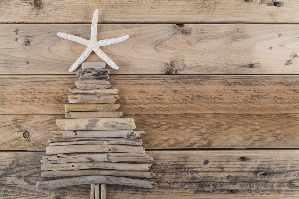 Starfish and driftwood Christmas tree