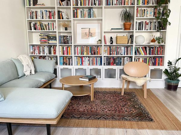 living room with vintage accents
