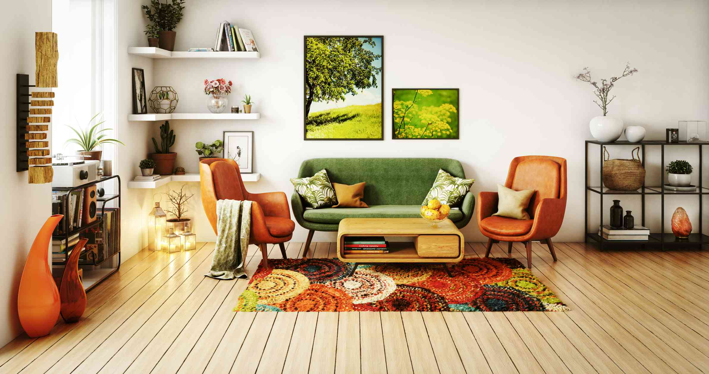 A retro living room decorated with 70s furniture and patterns