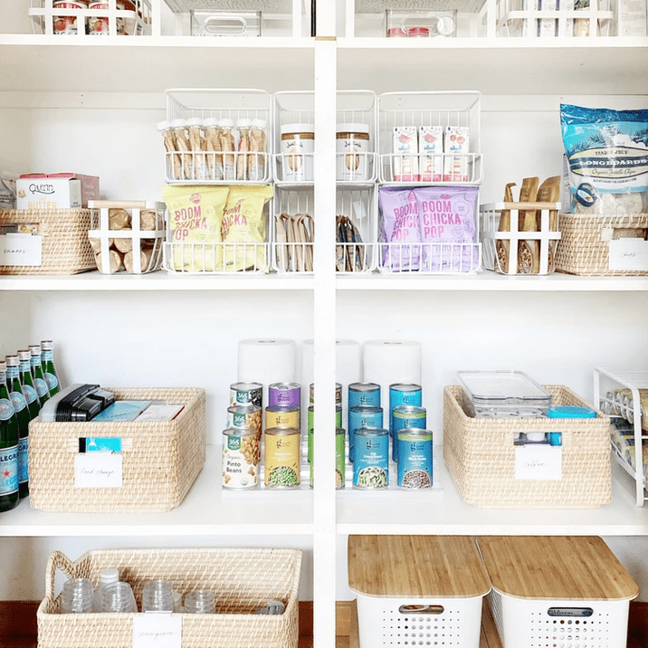 Vertical pantry storage using baskets