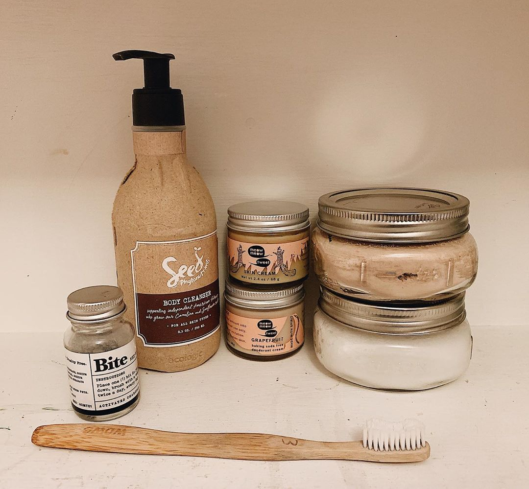 Healthy and eco-conscious beauty and personal hygiene products grouped together