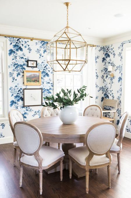 Dining Room With Blue Fl Wallpaper