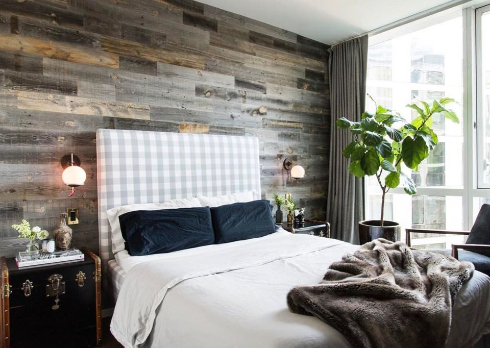 Peel and stick wood accent wall