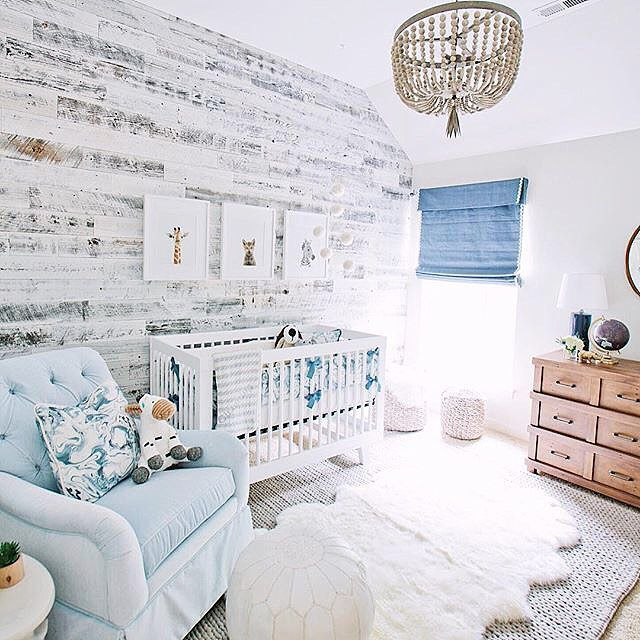 Bright and airy nursery with rustic birchwood accent paper