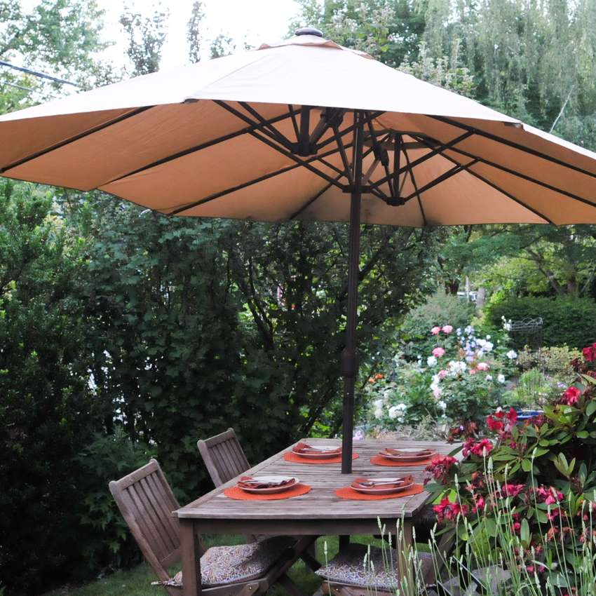 Le Papillon 15-Foot Double-Sided Market Outdoor Umbrella
