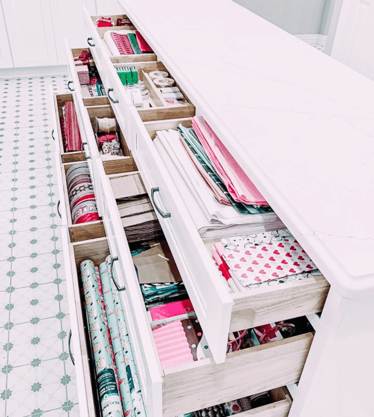 wrapping paper stored in drawers