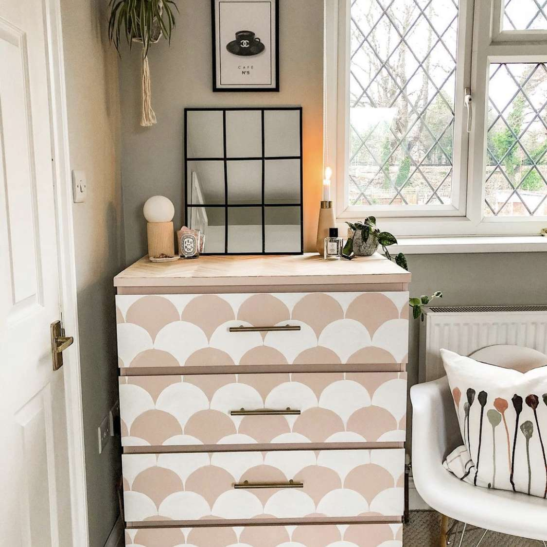 IKEA Malm dresser with pink and white scallop painted pattern