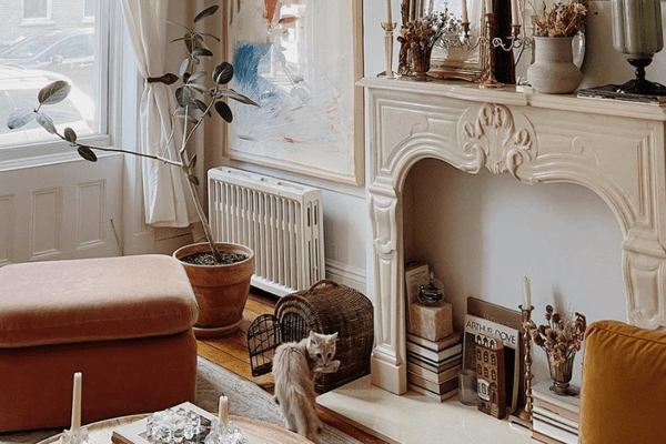 fake fireplace with books