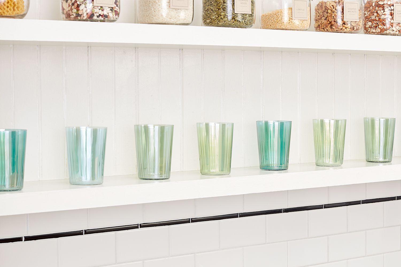 Kitchen glasses on shelf