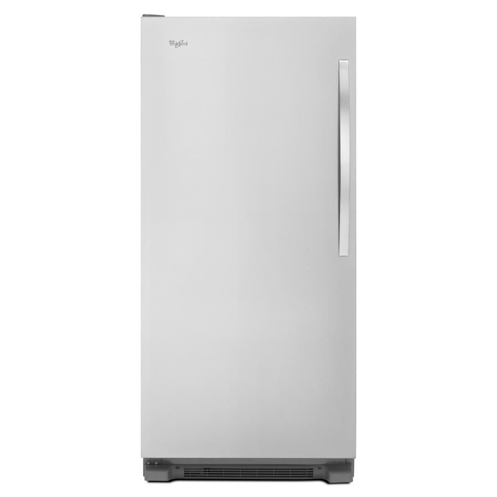 The Whirlpool SideKicks Frost Free Upright Freezer prioritizes accessibility and organization, and has a stainless steel exterior.