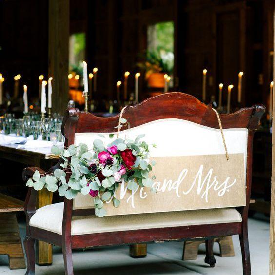 A bench at a barn wedding