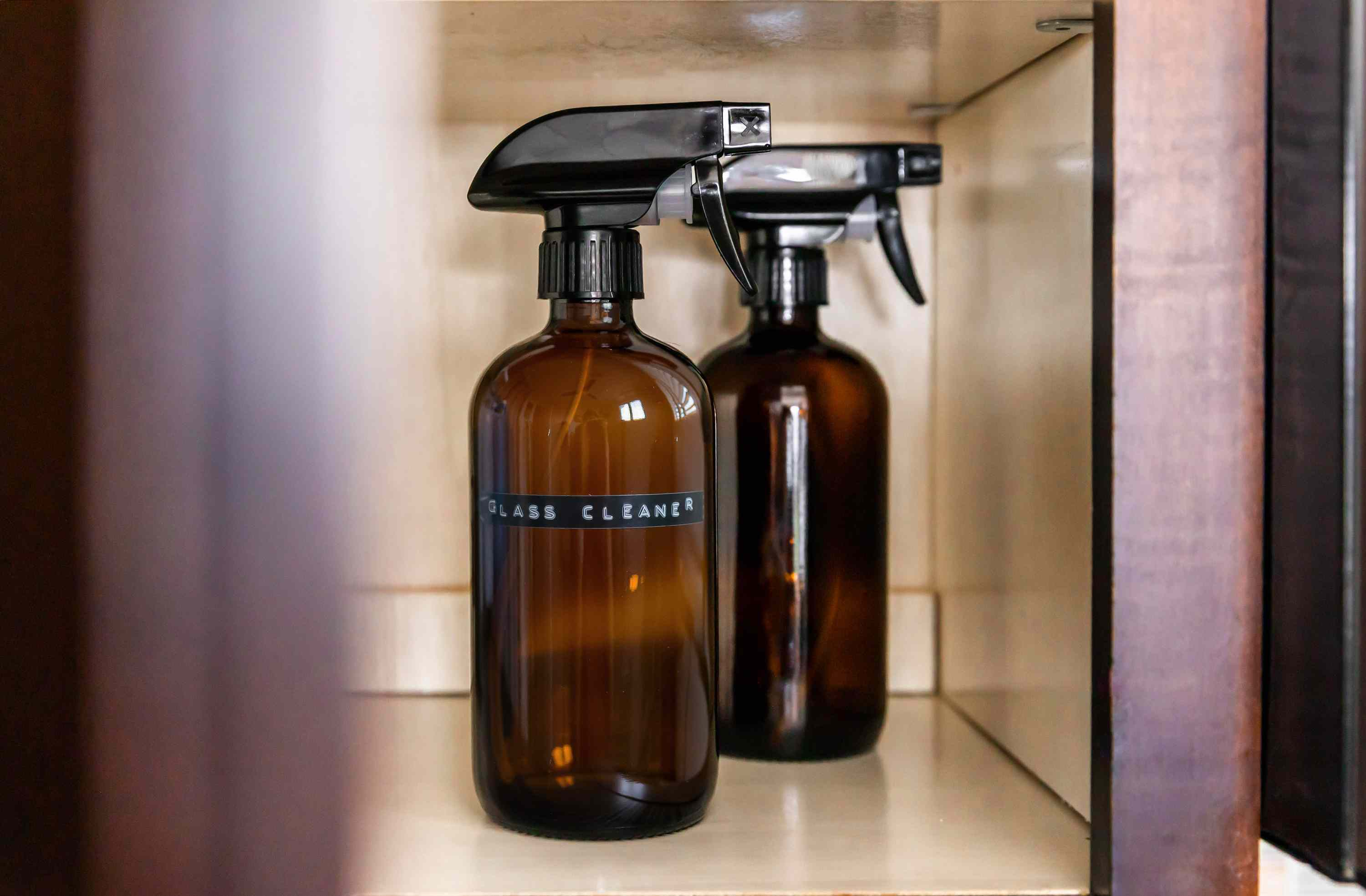 Storing and labeling glass cleaner