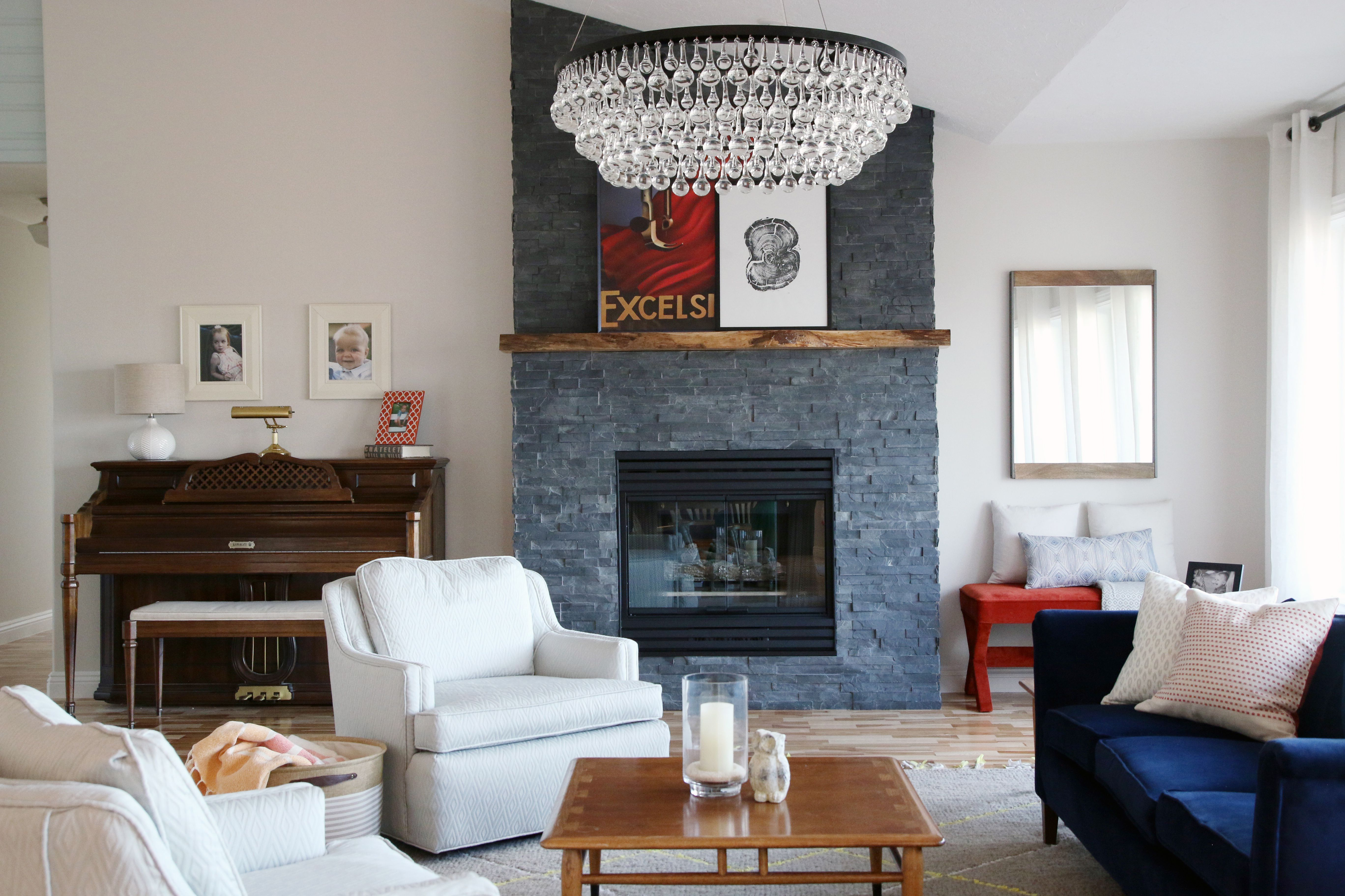 Gray stacked stone fireplace diy