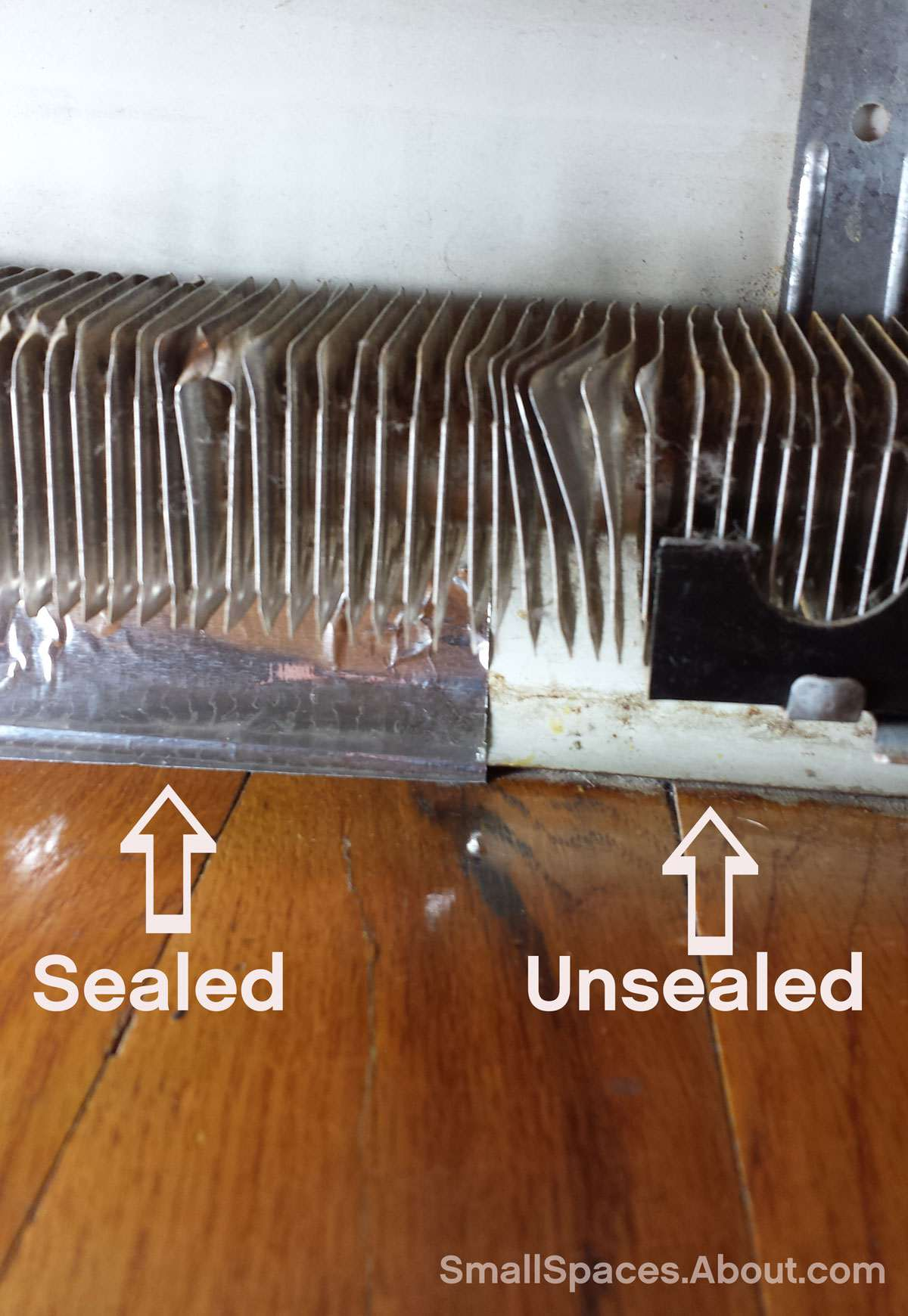 Baseboard sealed with metal tape
