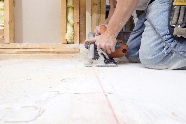 Cutting a plywood subfloor with a circular saw