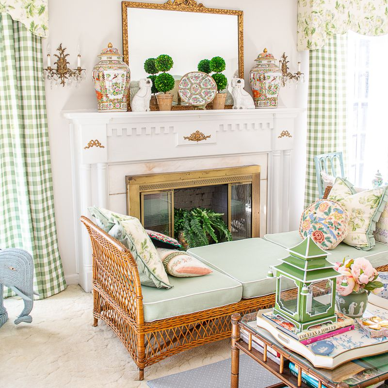 white and green granny chic room