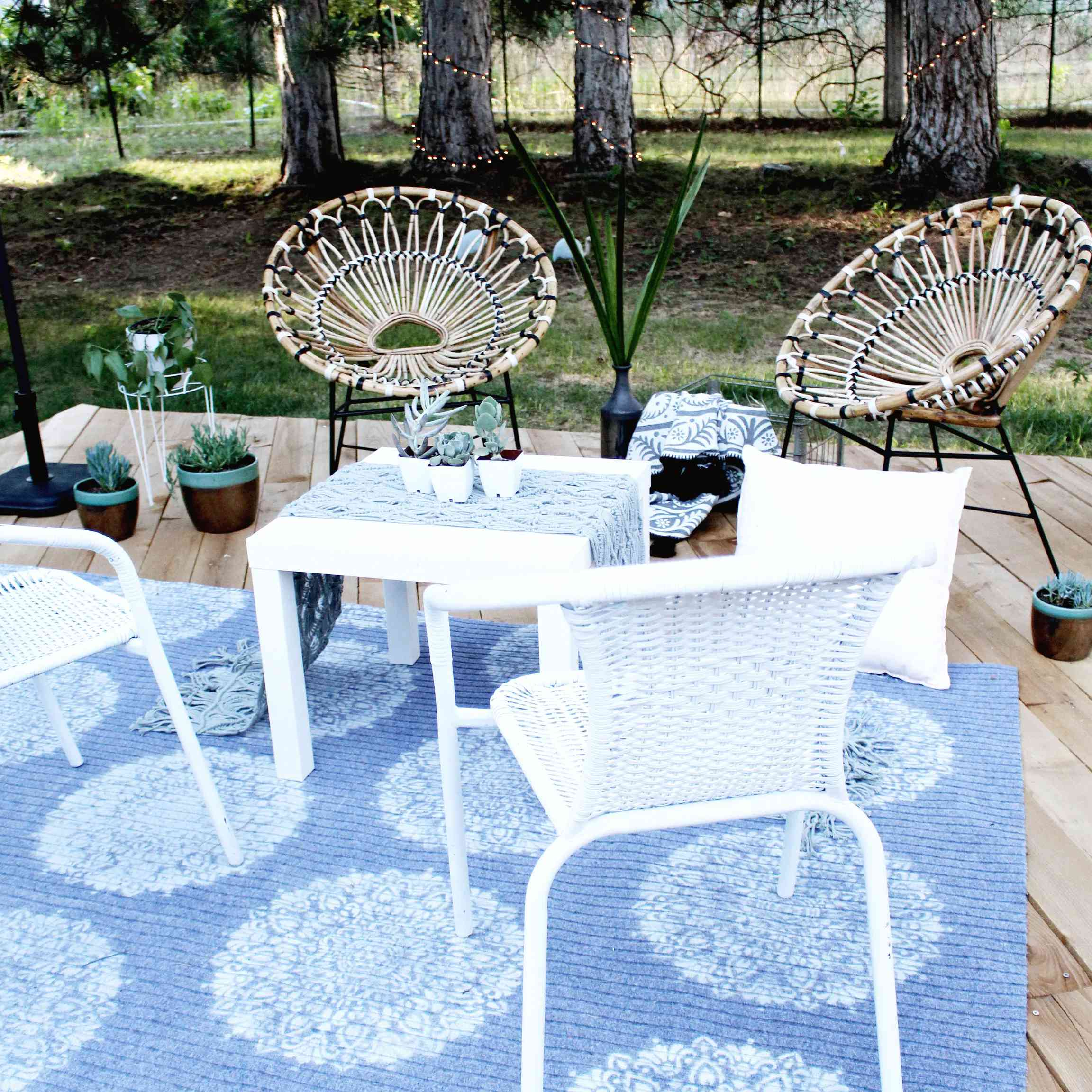 A blue painted outdoor rug