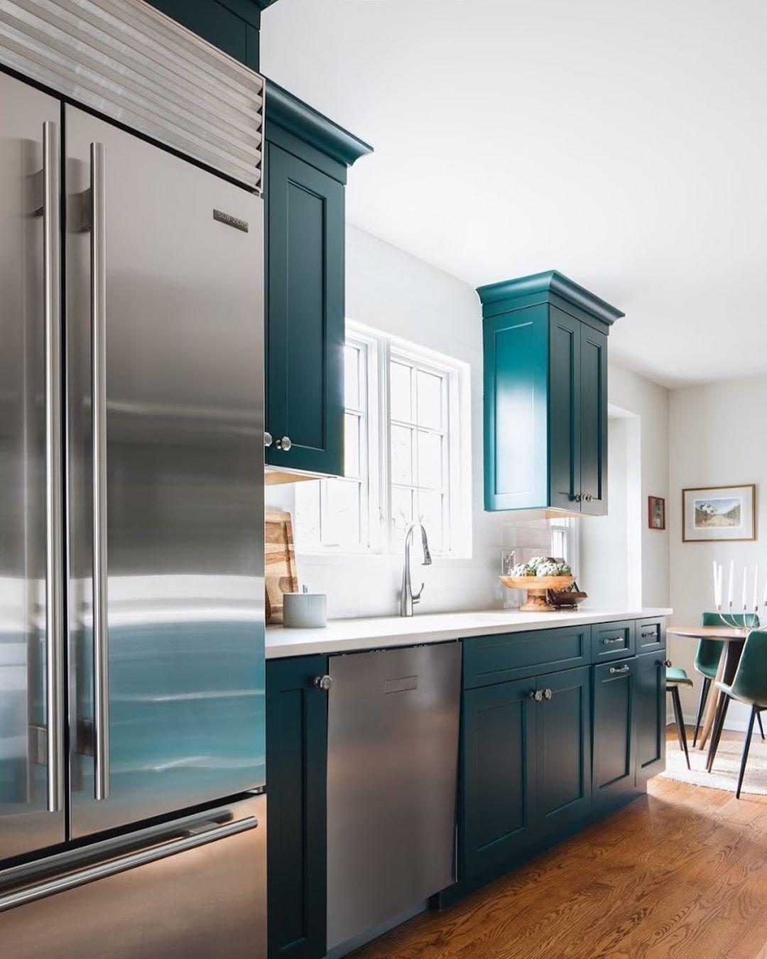 Aqua colored kitchen