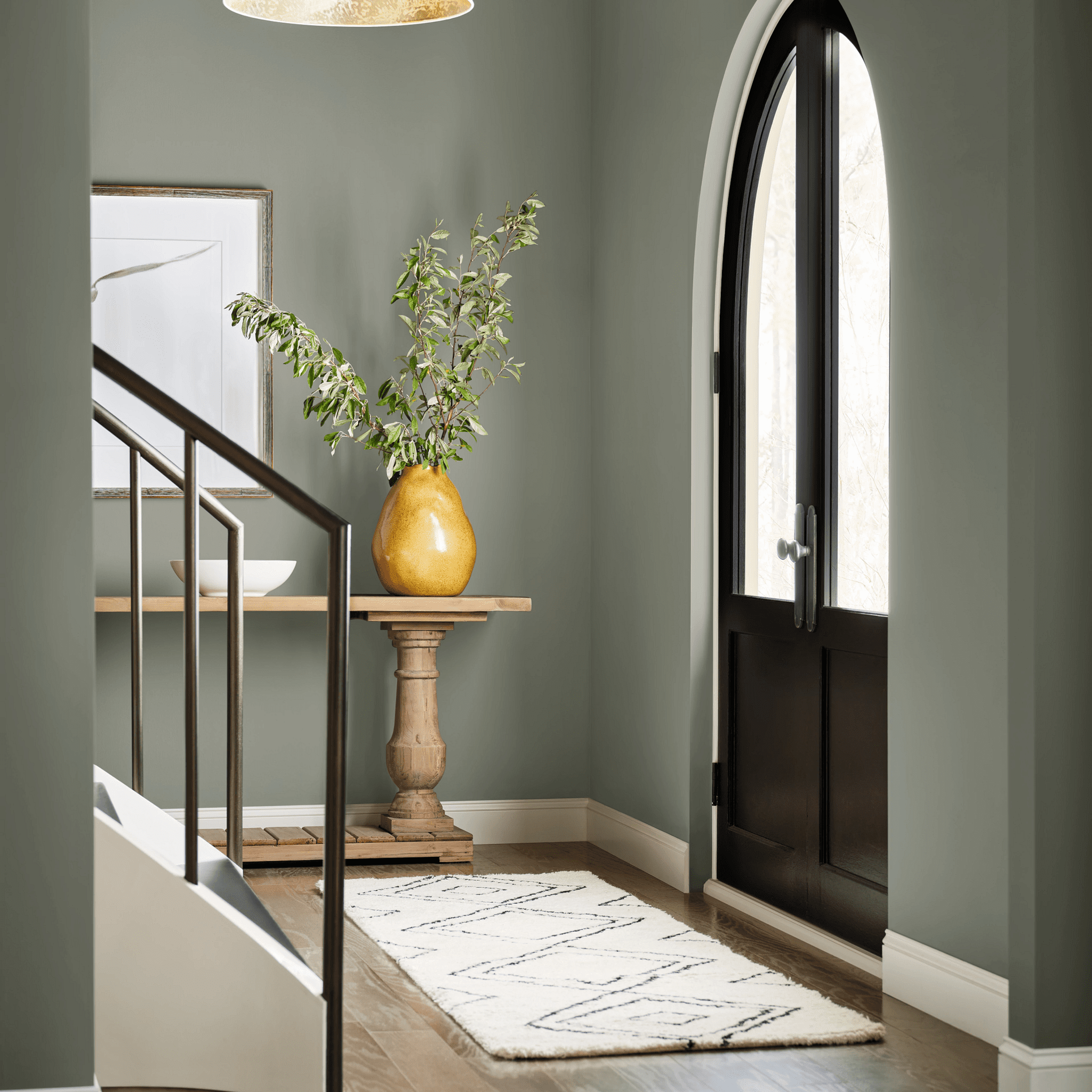 Sherwin-Williams Color of the Year 2022 Evergreen Fog in entryway