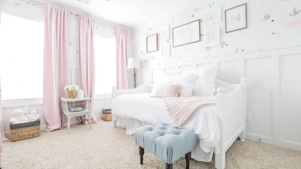 kids room with floral walls