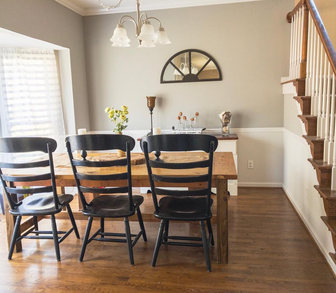 Light gray paint farmhouse dining room