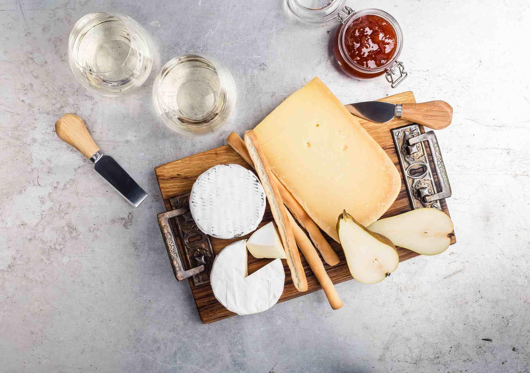 Cheeseboard and wine
