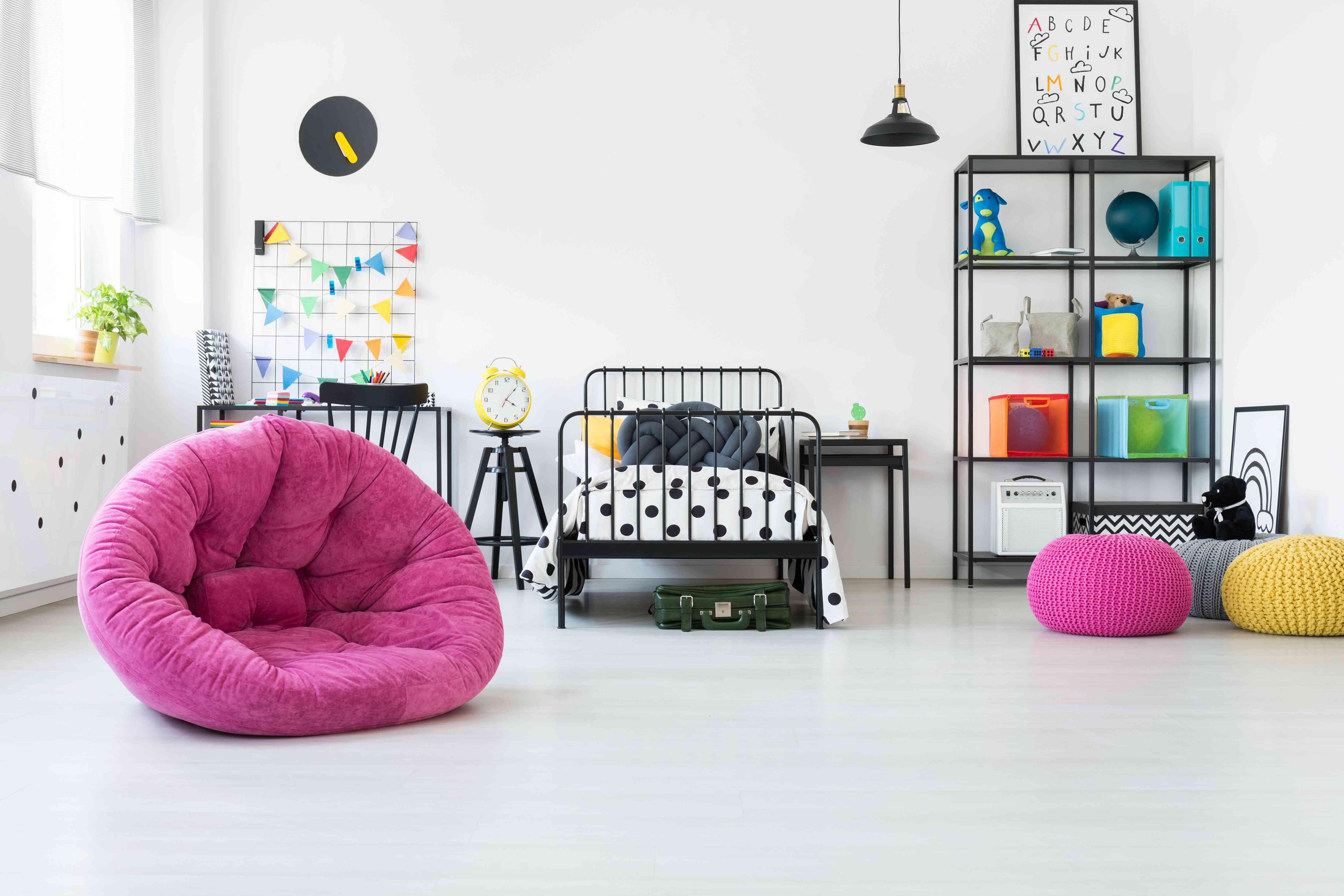 Pink pouf in kid's room