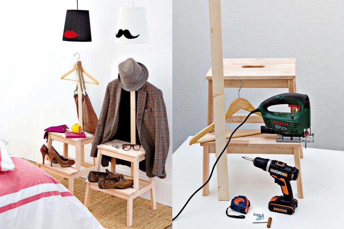 Ikea Hack Stool Coat Rack