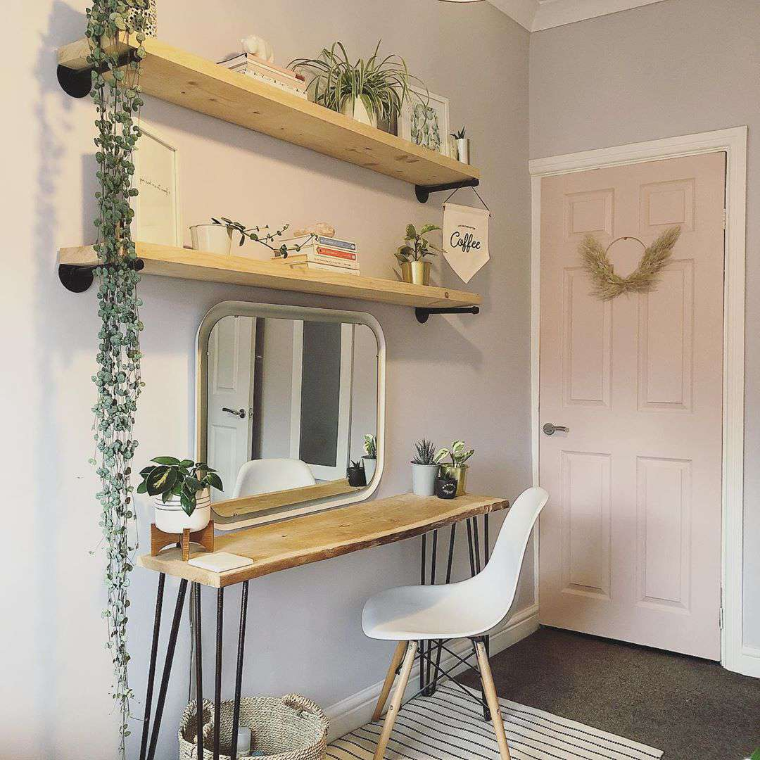 Desk with greenery