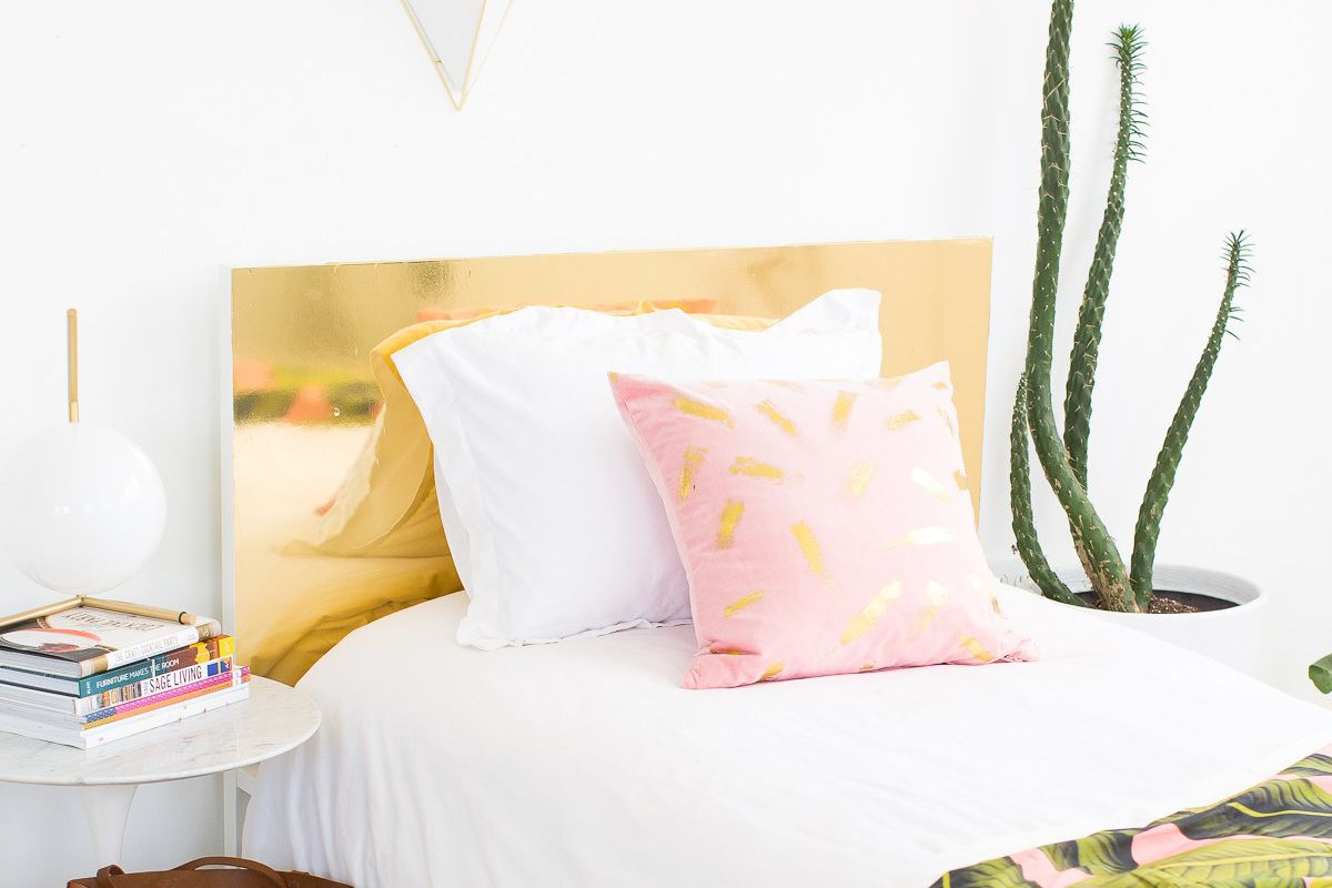 faux-brass-diy-headboard