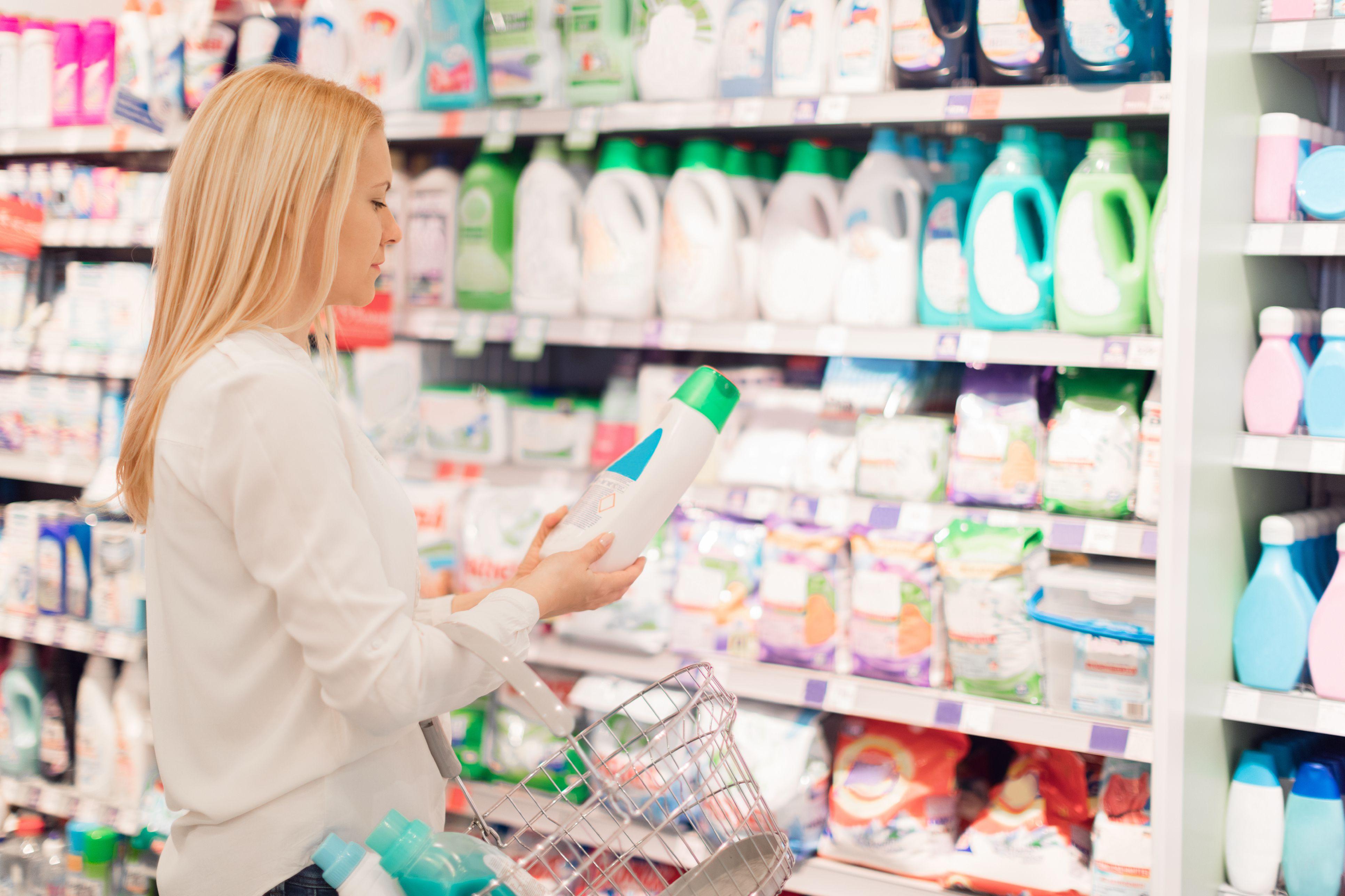 Woman choosing fabric softener