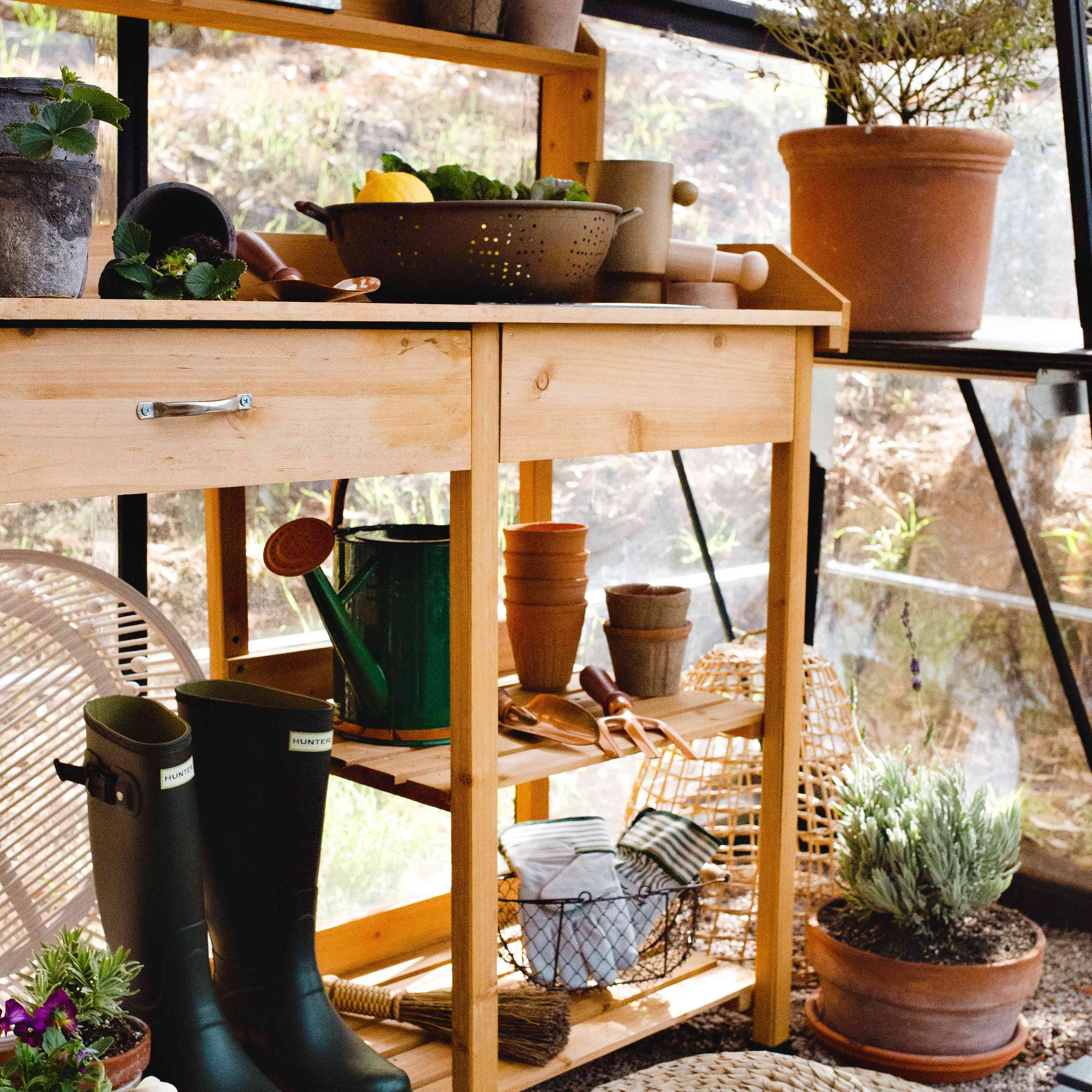 outdoor shelving features plants and supplies