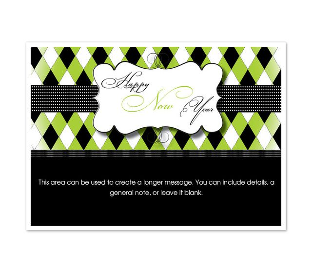 a green and black new years card
