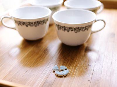 denture tablet and teacups