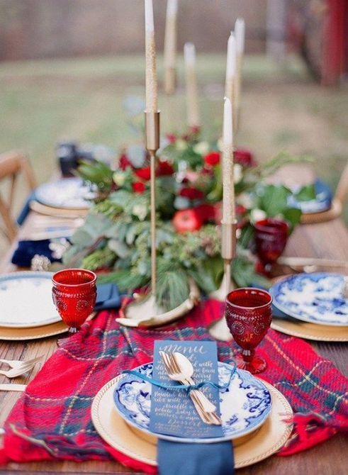 Centro de mesa para bodas de invierno a cuadros