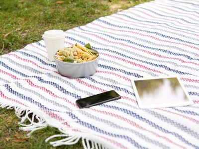 Cell phone, tablet, coffee to go and a bowl of noodle salad on blanket in a park