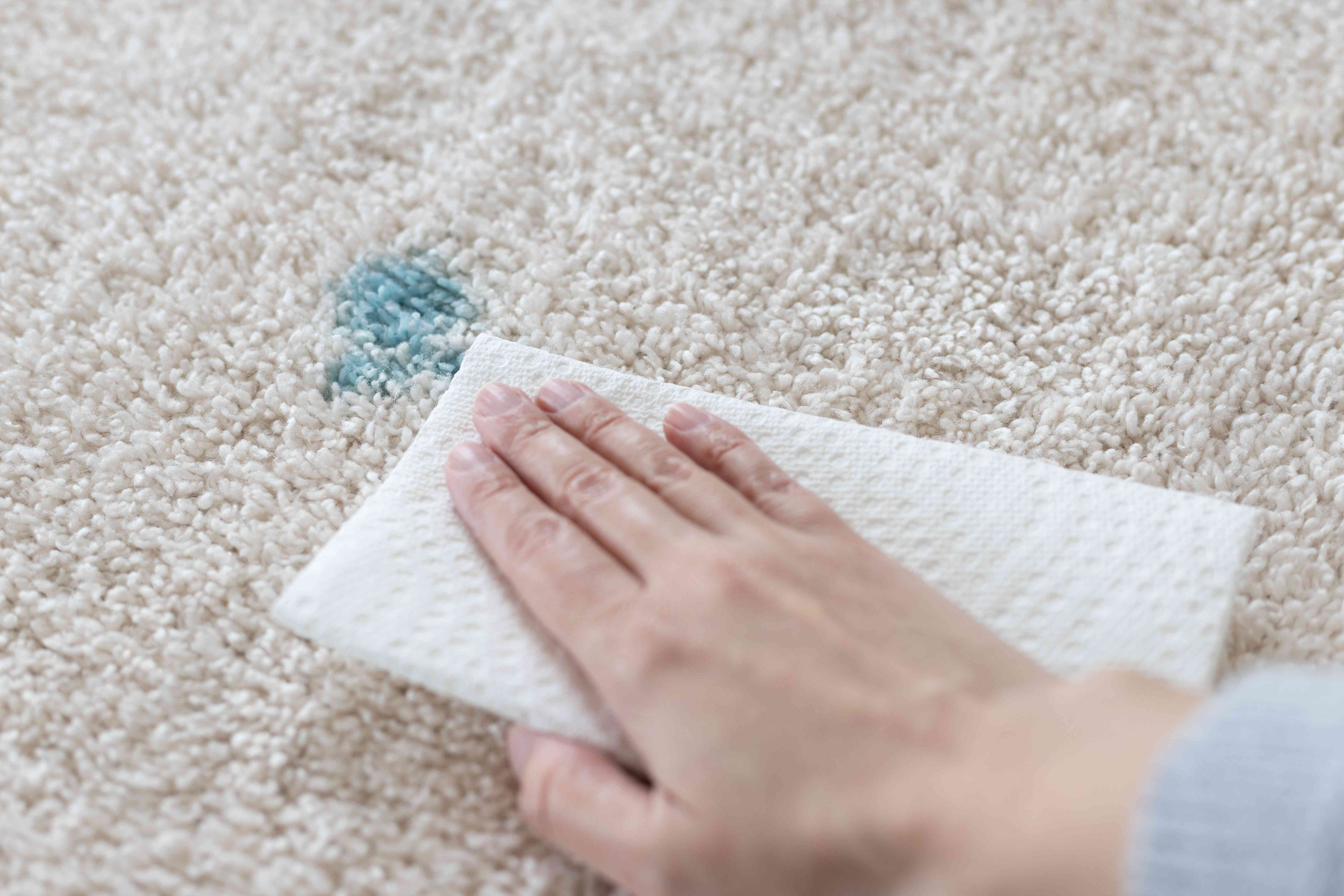 Carpet stained with blue easter egg dye blotted by white paper towel