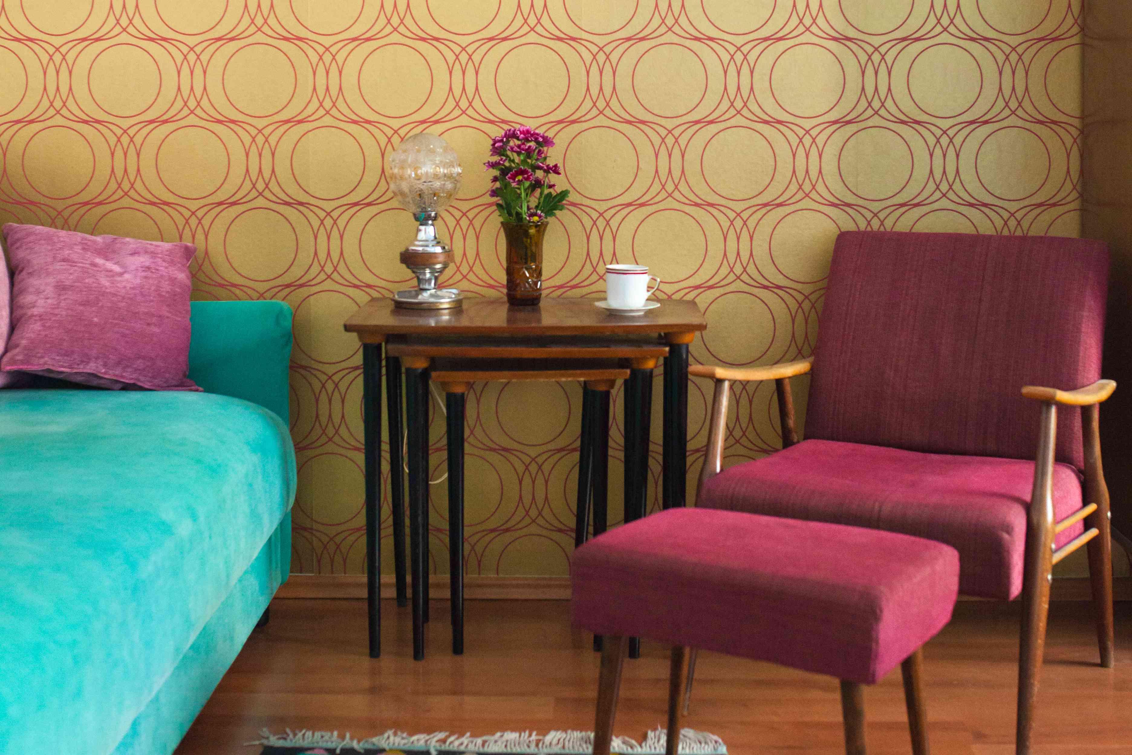 Colorful mid century decor