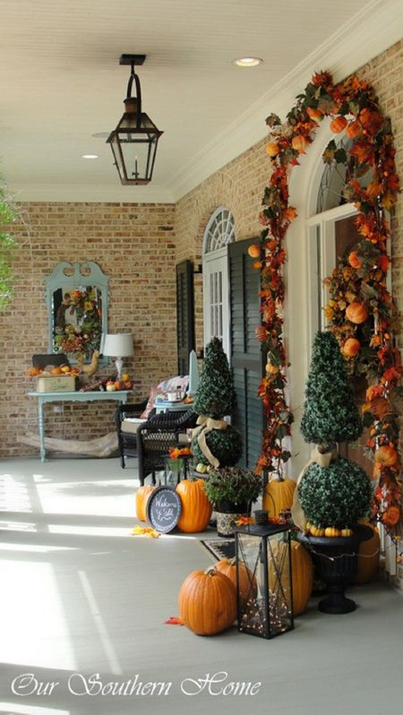 Beautiful Front Entry Thanksgiving Decorating Ideas
