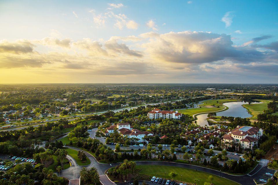 Amazing aerial sunset panorama view