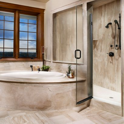 . Travertine Tile Ideas   Granite and Travertine in Shower